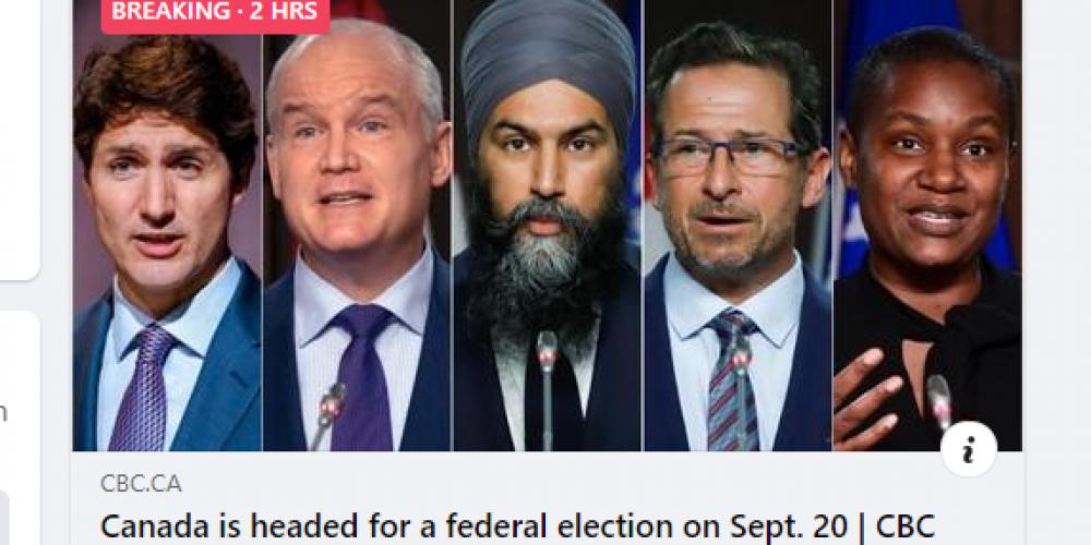 加拿大 2021 年的聯邦選舉正式開始