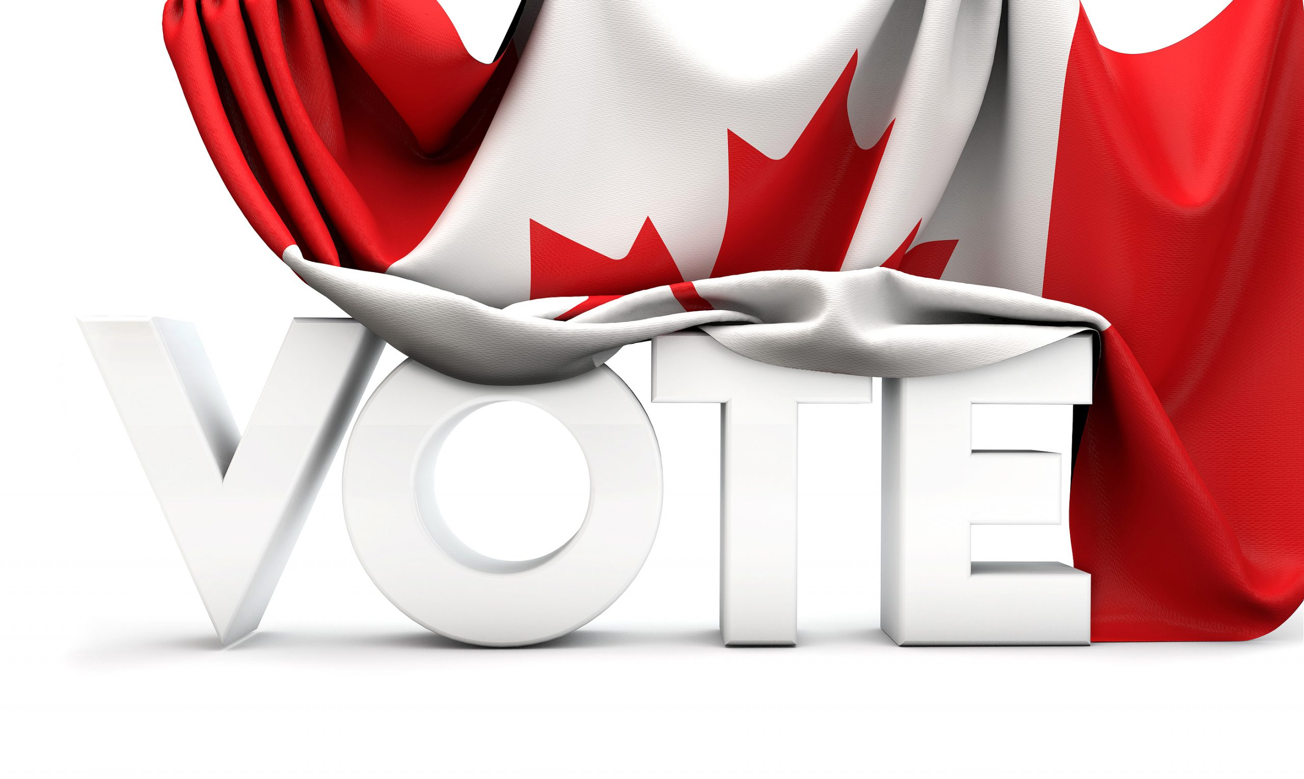 Canada vote concept. Vote word covered in national flag. 3D Render